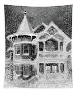 Victorian Christmas Black And White Tapestry
