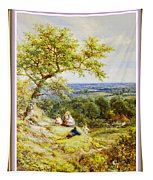 View From The Hill On The Village Below. P B With Decorative Ornate Printed Frame. Tapestry