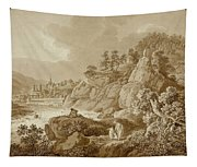View Of Karlsbad In The Foreground A Young Mother With Her Children Tapestry