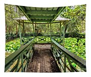View Of Lily Pads From Gazebo By Kaye Menner Tapestry