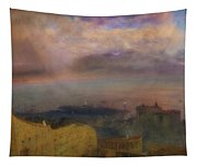 View Of The Bay Of Naples With Vesuvius Smoking In The Distance Tapestry