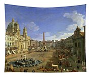 View Of The Piazza Navona Tapestry