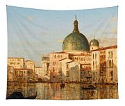 View Of Venice With San Simeone Piccolo Tapestry