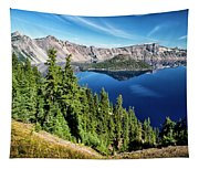 View Of Wizard Island Crater Lake Tapestry