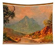 View On Blue Tip Mountain H A With Decorative Ornate Printed Frame. Tapestry