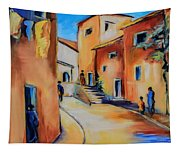 Village Street In Tuscany Tapestry