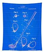 Vintage 1910 Golf Club Patent Blue Print Tapestry