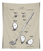Vintage 1910 Golf Club Patent In Sepia Tapestry