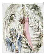 Vintage 1920s Fashion Plate  Evening Dresses Tapestry
