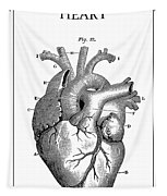 Vintage Anatomical Heart Tapestry