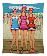 Vintage Beach Scene - Holiday At The Seashore Tapestry