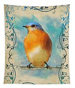 Vintage Bluebird With Flourishes Tapestry