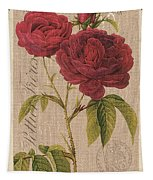Vintage Burlap Floral 3 Tapestry