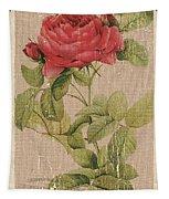 Vintage Burlap Floral Tapestry