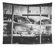 Vintage Cars At Night Bw Tapestry