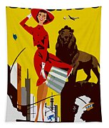 Vintage Chicago Travel Poster Tapestry
