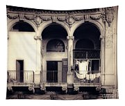Vintage City Building Exterior Tapestry