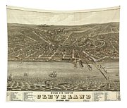Vintage Cleveland Ohio Map Tapestry