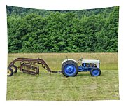Vintage Ford Blue And White Tractor On A Farm Tapestry