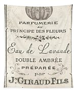 Vintage French Perfume Sign Tapestry