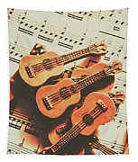 Vintage Guitars On Music Sheet Tapestry