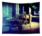 Vintage Industrial Blueprint Tapestry