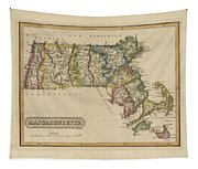 Antique Map Of Massachusetts Tapestry