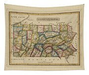 Antique Map Of Pennsylvania Tapestry