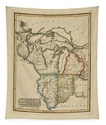 Antique Map Of Upper Territories Of The United States Tapestry