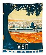 Vintage Palestine Travel Poster Tapestry