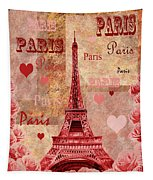 Vintage Paris And Roses Tapestry