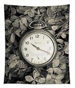 Vintage Pocket Watch Over Flowers Tapestry