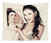 Vintage Pop Art Advert Girl With Breakfast Product Tapestry