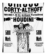 Vintage Poster Advertising A Performance By Houdini, 1922 Tapestry