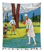 Vintage Poster Advertising Samaden In Switzerland Tapestry