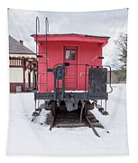 Vintage Red Caboose In The Snow Tapestry