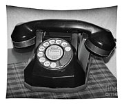 Vintage Rotary Phone Black And White Tapestry
