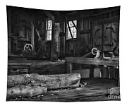 Vintage Sawmill In Black And White Tapestry