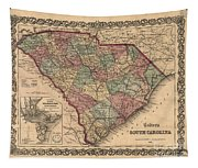 Vintage South Carolina Map Tapestry
