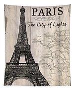 Vintage Travel Poster Paris Tapestry by Debbie DeWitt