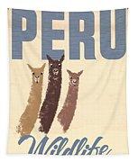 Vintage Wild Life Travel Llamas Tapestry