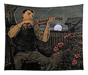 Violin Player To The Moon Tapestry