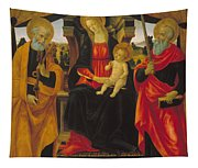Virgin And Child Between Saint Peter And Saint Paul Tapestry