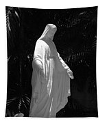 Virgin Mary In Black And White Tapestry