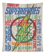 Virtues Of A Superhero Tapestry