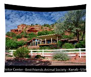 Visitor Center Best Friends Animal Sanctuary Angel Canyon Knob Utah 02 Text Black Tapestry