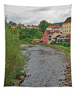 Vltava River As It Runs Slowly Through Cesky Krumlov In The Czech Republic Tapestry