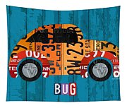 Volkswagen Vw Bug Vintage Classic Retro Vehicle Recycled License Plate Art Usa Tapestry