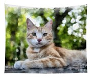 Volterra Italy Cat Watercolor Tapestry