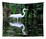 Wading For Food Tapestry